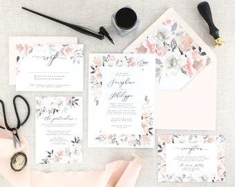 Blush Wedding Invitations Printed - Pink Wedding Invitation Suite - Grey Wedding Invitation Set - Pink and Grey Wedding Invites - Set of 10