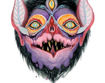 8x10 PRINT - Bat Mask of Young Chasm Percher - INKJET GICLEE