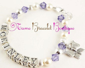 Butterfly Charm Name Bracelet for girls and baby with sterling silver and swarovski crystal and pearl- purple/choose colors