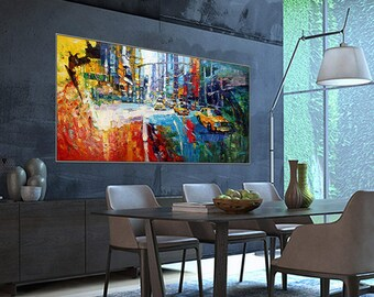 "Yellow Taxi Times Square New York NYC Art Painting 31x62""/80x160cm Palette Knife Art Textured Oil Painting"