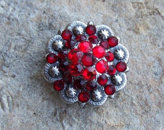 CONCHO Antiqued Silver with Brilliant Red Swarovski Crystals Major Bling Screwback Perfect for Ring Adapter