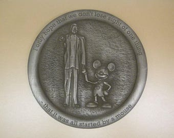 Walt Disney Micky Mouse inspired sign plaque silver