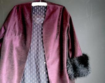 """1950s Jacket, Real Fur Trim, Plum/Burgundy, """"Elegance"""" - Large Size, Gold Lined Vintage Dark Red Shantung Jacket, Dress, Evening"""