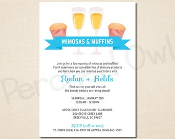 Mimosas & Muffins Invitation - Direct Selling - Business Launch Party - Network Marketing - Mini Facial Party - Digital File