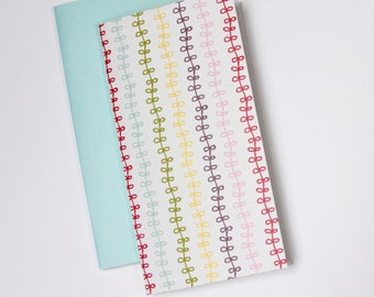 Notebook Jotter Sketchbook . Set of 2 . Ribbons . Summer Travelers Notebook Insert Travel Journal  Diary Planner Midori Fauxdori Sketch Book