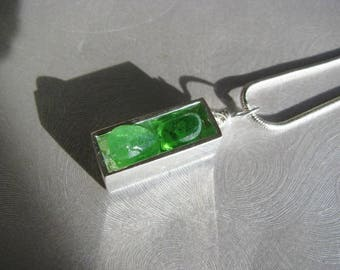 Sea Glass Jewelry - Kelly Green Sea Glass - Small Silver Rectangle Necklace - Sea Glass Necklace - Pure Sea Glass from Prince Edward Island