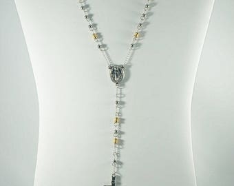 Stainless Steel Holy Rosary Necklace. WHITE.