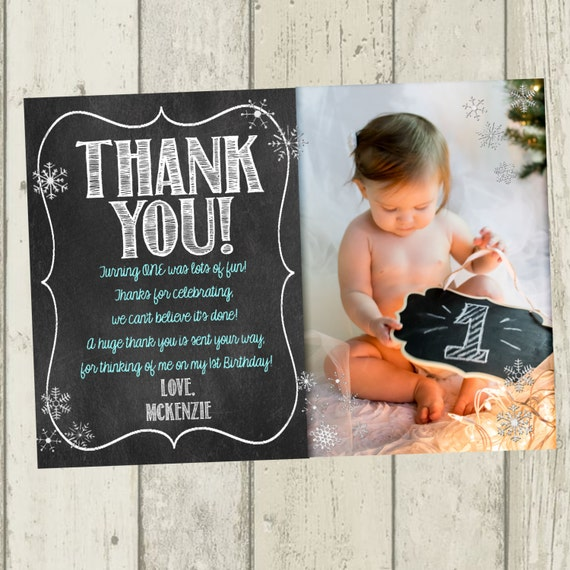 Winter onederland thank you card first birthday thank you like this item bookmarktalkfo Choice Image