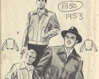 "1953 Vintage Sewing Pattern MEN'S JACKET C38""-40' (1350) By Butterivk 6658"