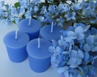 BLUE HYDRANGEA (4 votives or 4oz soy jar candle)