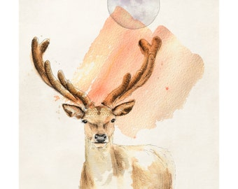 The Deer In You | A5 digital print | Alykat Creative Animal series | Stag Antlers