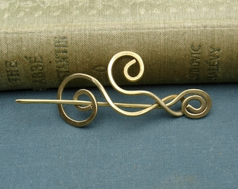 Little Brass Dancing Waves and Swirls Shawl Pin, Scarf Pin, Sweater Brooch, Lace Shawl Pin, Fingering Weight, Women, Crochet Accessories