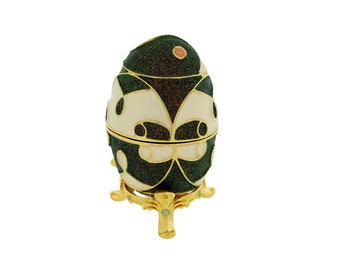 Green & Ivory Faberge Style Egg Trinket Box, Decorated Egg Collectable Ornament - 6cm