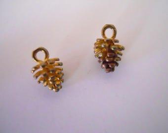 Pair Brass Pine Cone Charms