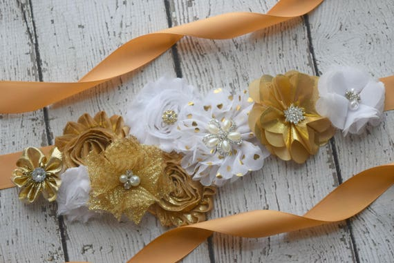 Flower Sash,Gold  white Sash, #2, flowersash  Belt, maternity sash, flower sash
