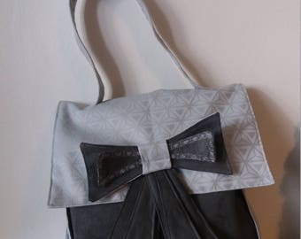 """bag """"Knot"""" suede fabric and dark gray grey coating"""