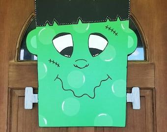FRANKENSTEIN Door Hanger Halloween Door Hanger Personalized Halloween Door Hanger Witch Door Hanger Halloween Decor Spooky Door Hanger & Frankenstein cutout   Etsy