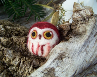 Needle Felted Pink Caffeinated Saw Whet Owl