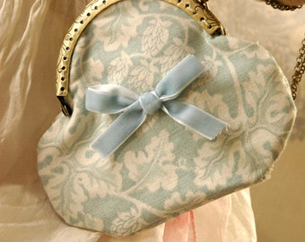 Duck egg Blue Oakleaf design  Purses- Larger Purse 8cm  Handmade by Charlotte