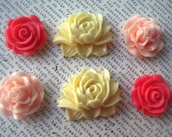Rose Magnets, 6 pc Large Magnets, Pink and Cream, Fridge Magnet, Housewarming Gifts, Wedding Favors, Locker Magnets