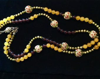 Long 2 strands carnelian beads necklace, brown beads ,mustard colors freshwater pearls and