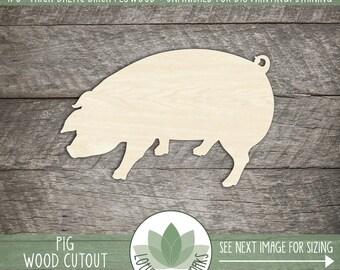 Wood Pig Shape, Unfinished Wood Pig Laser Cut Shape, DIY Craft Supply, Many Size Options, Blank Wood Shapes
