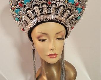 Tribal Crown, Silver Crown, Jeweled Headdress, Egyptian Headpiece, Egyptian Headdress, Priestess Crown, Burning man Headdress, Burning man