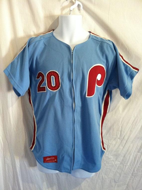 Vintage PHILLIES Jersey 70s 80s/ Mike Schmidt No. 20 Rawlings Pro Cut Size  40 Powder Blue Uniform/ Philadelphia Tackle Twill Sewn MLB Zip Up