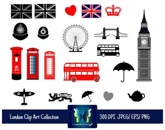 london clipart- british city clip art. great britain, england. uk