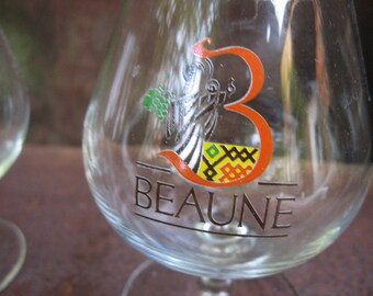 Beaune Brandy Snifters, pair of French vintage Burgundy armanac or cocktail glasses. Wine lover, 3rd Anniversary gift, 1980s retro bar