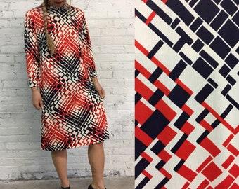 60s mod turtleneck dress / red and black geometric print long sleeve shift dress / mock neck minimalist psychedelic print sheath dress