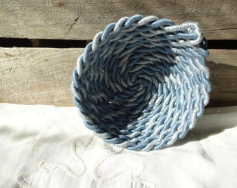 Upcycle Rope Bowl: Large Blue Twist, Catch All, Jewelry, Sewn Bowl, Fiber, Reduce Reuse Recycle, Sustainable, Zero Waste