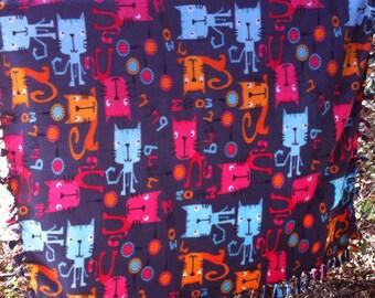 Colorful Cat Blanket, Child's Fleece Blanket, Bedding for Kids, Tied Edge Blanket, Fleece Blanket, Winter Blanket, Fleece Throw