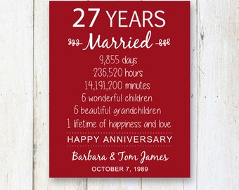 wedding anniversary gifts for 27 years