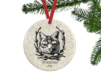 Cat Christmas Ornament, Gifts for Cat Lovers, Personalized Cat Memorial, Vintage Style Cat Christmas Decor
