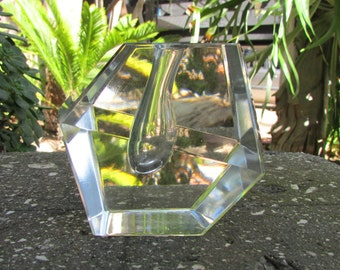 Mid Century Modern Clear Glass Pencil holder or small vase