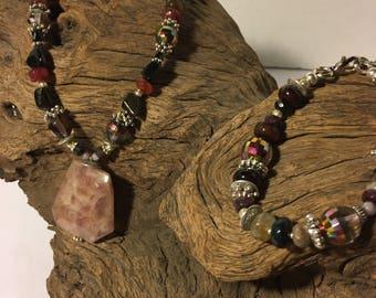 Necklace and Bracelet Bloodstone Set