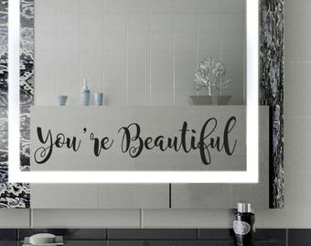 You are beautiful stickers, Mirror Decal Sticker, Wall Decal, Mirror  Decoration, Bathroom