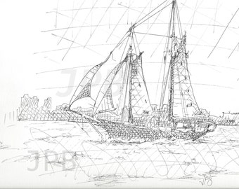 Ink drawing, Sail boat, nautical sketch, hatch, water scene, landscapes