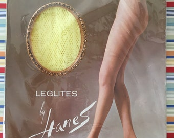 Leglites by Hanes Funny Lace patterned stockings nylons soft yellow colored new old stock new in package 1970's  all nylon petite medium