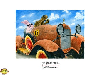 Will Bullas / art print / great race... / humor / animals / rabbit / tortoise