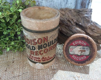 Antique Canister, Edison Records, Ephemera, Phonograph, Cylinder, Early 1900s, Tube, Authentic, Antique Paper, Props