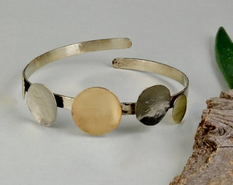 Cuff bracelet with circles, open cuff bracelet, metallic cuff bracelet, mixed metals jewelry, five circle bracelet, adjustable cuff bracelet