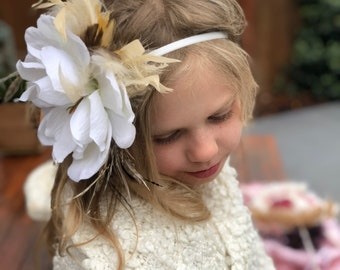 Big magnolia flower headband, Headband with feathers