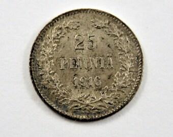 Finland 1916 S Silver 25 Pennia Coin.