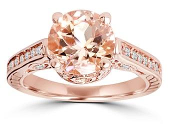 Morganite And Diamond Engagement Ring 2.00CT Morganite & Diamond Engagement Ring 14K Rose Gold Halo Split Shank Size 4-9