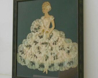 Vintage Lace Girl Paper Doll Framed Art