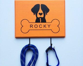 CUSTOM One Dog Two Hook Leash Holder - Wood Dog Organizer, Dog Hooks, Dog Leash Hook, Dog Silhouette, Dog Bone