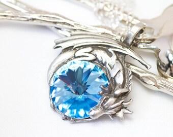 Dragon Necklace Aquamarine Swarovski Crystal Dragon Necklace - Pewter Pendant and Sterling Silver Pendant Aquamarine March Birthstone