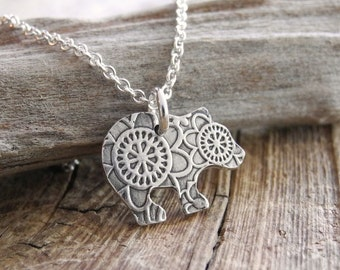 Tiny Bear Cub Necklace, Flowered Grizzly Bear Cub, Fine Silver, Sterling Silver Chain, Made To Order